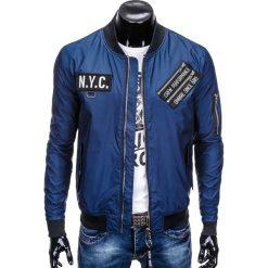KURTKA MĘSKA PRZEJŚCIOWA BOMBERKA C349 - GRANATOWA. Niebieskie kurtki męskie bomber marki Ombre Clothing, m, z poliesteru. Za 99,00 zł.