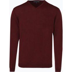Finshley & Harding - Sweter męski z dodatkiem wełny merino, czerwony. Czarne swetry klasyczne męskie marki Finshley & Harding, w kratkę. Za 129,95 zł.