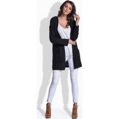 Kardigany damskie: Czarny Sweter Długi bez Zapięcia w Warkocze