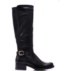 Buty zimowe damskie: Czarne Kozaki  BELINDA
