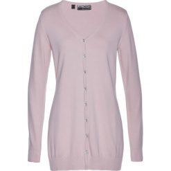Długi sweter rozpinany bonprix matowy jasnoróżowy. Czerwone swetry rozpinane damskie marki bonprix. Za 59,99 zł.