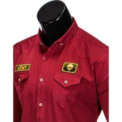 KOSZULA MĘSKA Z DŁUGIM RĘKAWEM K361 - BORDOWA. Brązowe koszule męskie na spinki marki Ombre Clothing, m, z aplikacjami, z kontrastowym kołnierzykiem, z długim rękawem. Za 79,00 zł.