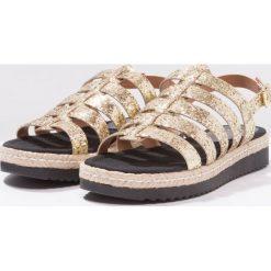 Rzymianki damskie: Fiore di Lucia Milano CACAO Sandały na platformie glitter oro