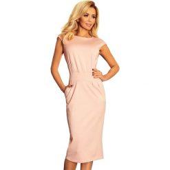 Różowa Sukienka Elegancka Midi z Zaznaczoną Talią. Różowe sukienki balowe marki numoco, l, z dekoltem w łódkę, oversize. Za 119,90 zł.
