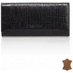 Skórzany portfel z dyskretną fakturą 18cmx8cm. Czarne torebki klasyczne damskie Monnari, ze skóry. Za 119,50 zł.
