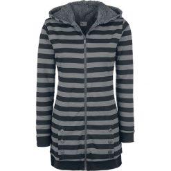 Pussy Deluxe Striped Fleece Coat Bluza z kapturem rozpinana damska czarny/szary. Czarne bluzy rozpinane damskie Pussy Deluxe, xxl, w paski, z długim rękawem, długie, z kapturem. Za 164,90 zł.