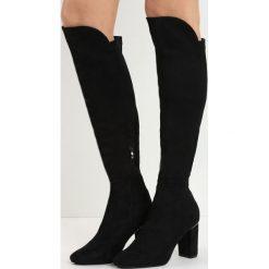 Czarne Kozaki No Sense. Czarne buty zimowe damskie marki Born2be, z materiału, z okrągłym noskiem, na wysokim obcasie, na obcasie. Za 139,99 zł.