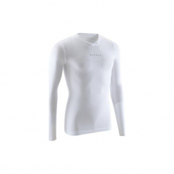 Koszulka termoaktywna długi rękaw dla dorosłych Kipsta Keepdry 500. Białe odzież termoaktywna męska marki KIPSTA, m, z elastanu, z długim rękawem, na fitness i siłownię. Za 49,99 zł.