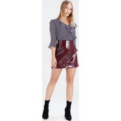 Bluzki asymetryczne: Wallis Petite SPOT RUFFLE V NECK Bluzka purple