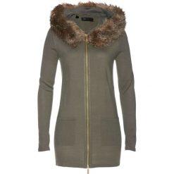 Sweter rozpinany ze sztucznym futerkiem bonprix zielono-szary. Szare kardigany damskie marki Mohito, l. Za 119,99 zł.
