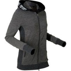 Lekka bluza rozpinana z elastycznymi wstawkami, długi rękaw bonprix szary melanż - czarny melanż. Szare bluzy rozpinane damskie bonprix, melanż, z długim rękawem, długie. Za 89,99 zł.