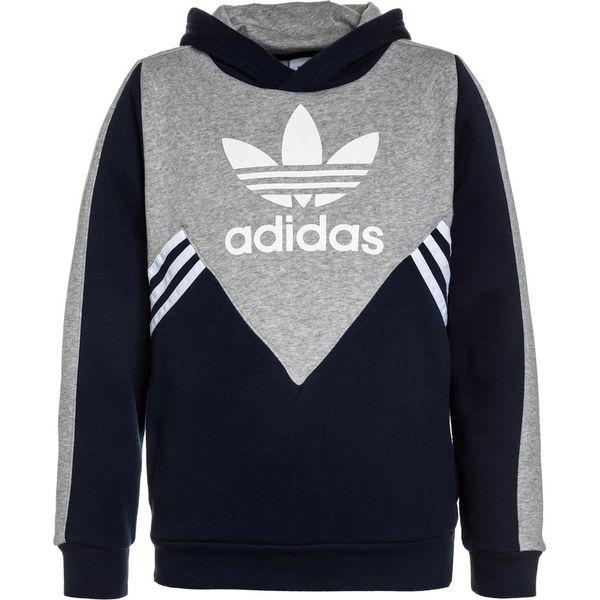 4a8ff59152765 adidas Originals HOODIE Bluza z kapturem collegiate navy medium grey  heather white - Niebieskie bluzy męskie z kapturem marki adidas Originals