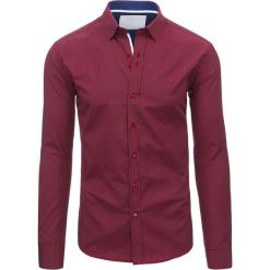 Koszule męskie: Bordowa koszula męska w paski z długim rękawem (dx1485)