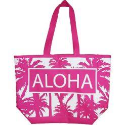 """Torba plażowa """"Texty"""" w kolorze różowym - 35 x 58 x 23 cm. Czerwone shopper bag damskie Le Comptoir de la Plage, z tworzywa sztucznego. W wyprzedaży za 38,95 zł."""