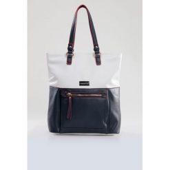 Dwukolorowa torba na pasku. Szare torebki klasyczne damskie Monnari, ze skóry. Za 99,60 zł.
