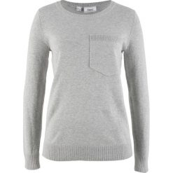 Swetry klasyczne damskie: Sweter z kieszonką bonprix jasnoszary melanż