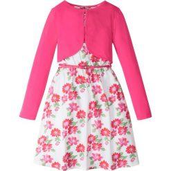Sukienki dziewczęce: Sukienka + pasek + bolerko (3 części) bonprix biało-ciemnoróżowy w kwiaty