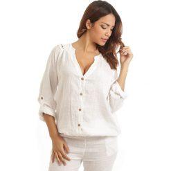 Bluzki asymetryczne: Lniana bluzka w kolorze białym