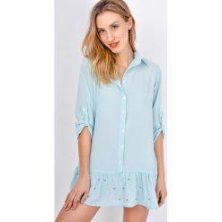 Tunika sukienka koszulowa z falbanką i perełkami. Szare sukienki mini marki Zoio, na imprezę, z bawełny, z falbankami, koszulowe. Za 29,99 zł.
