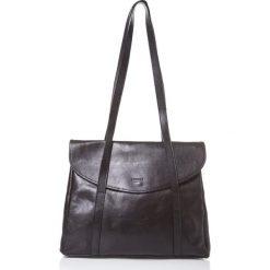 Torebki klasyczne damskie: Skórzana torebka w kolorze czarnym - 40 x 37 x 7 cm