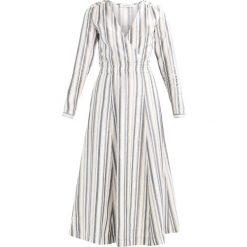 IVY & OAK V NECK STRIPED DRESS Długa sukienka blue/beige. Niebieskie długie sukienki IVY & OAK, ze lnu, z długim rękawem. W wyprzedaży za 431,40 zł.