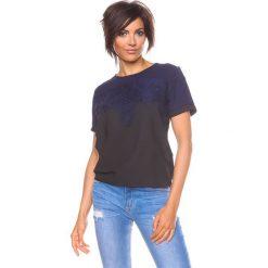 """Bluzki asymetryczne: Koszulka """"Lou"""" w kolorze czarno-granatowym"""