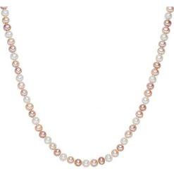Naszyjniki damskie: Naszyjnik z pereł w kolorze biało-brzoskwiniowo-lawendowym – dł. 90 cm