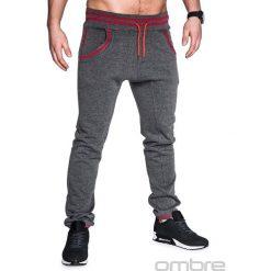 SPODNIE MĘSKIE DRESOWE P428 - GRAFITOWE. Szare joggery męskie Ombre Clothing, z bawełny. Za 49,00 zł.