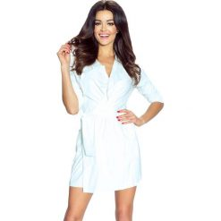 Płaszcze damskie: Biały Płaszcz bez Zapięcia z Wiązanym Paskiem