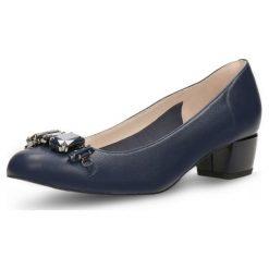 Czółenka LATINA. Niebieskie buty ślubne damskie Gino Rossi, ze skóry, na obcasie. Za 269,90 zł.
