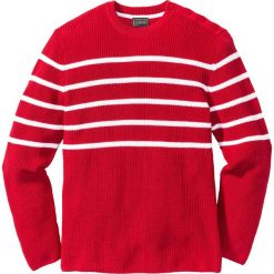 Swetry męskie: Sweter w paski Regular Fit bonprix czerwono-biały w paski