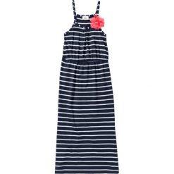 Sukienki dziewczęce: Długa sukienka z kwiatkiem bonprix ciemnoniebiesko-biały w paski