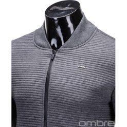 BLUZA MĘSKA ROZPINANA BEZ KAPTURA B551 - GRAFITOWA. Szare bluzy męskie rozpinane marki Ombre Clothing, m, z bawełny, bez kaptura. Za 49,00 zł.