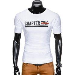 T-shirty męskie: T-SHIRT MĘSKI Z NADRUKIEM S927 – BIAŁY