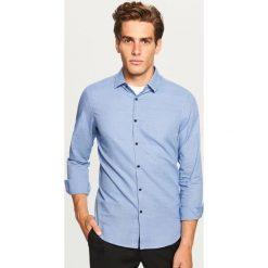 Koszula w kratkę slim fit - Niebieski. Niebieskie koszule męskie slim Reserved, l, w kratkę. Za 69,99 zł.