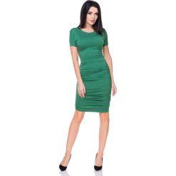 Zielona Sukienka Bodycon Drapowana na Bokach. Zielone sukienki koktajlowe Molly.pl, na co dzień, l, z tkaniny, z krótkim rękawem, midi, bodycon. Za 138,90 zł.