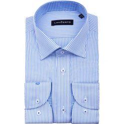 Koszula WILEA. Niebieskie koszule męskie na spinki marki LANCERTO, m, w prążki, z bawełny, button down. W wyprzedaży za 149,90 zł.