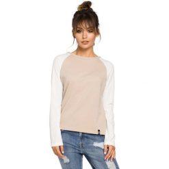 Bluzki damskie: Beżowa Klasyczna Bluzka z Długim Rękawem