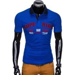 KOSZULKA MĘSKA POLO Z NADRUKIEM S902 - NIEBIESKA. Niebieskie koszulki polo Ombre Clothing, m, z nadrukiem. Za 59,00 zł.