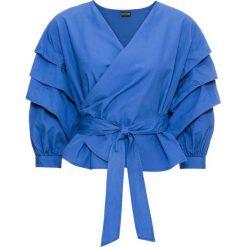 Bluzki damskie: Bluzka kopertowa bonprix niebieski