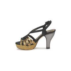 Sandały Magrit  GOLD EFFECT. Żółte sandały trekkingowe damskie marki Kazar, ze skóry, na wysokim obcasie, na obcasie. Za 1119,20 zł.