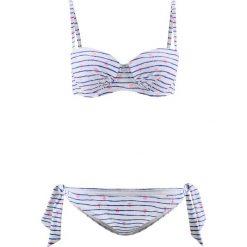 Bikini na fiszbinach (2 części) bonprix niebiesko-biały z nadrukiem. Niebieskie bikini bonprix, z haftami. Za 37,99 zł.