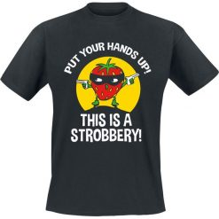Put Your Hands Up! This Is A Strobbery! T-Shirt czarny. Czarne t-shirty męskie Put Your Hands Up! This Is A Strobbery!, l. Za 62,90 zł.