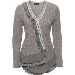 Swetry klasyczne damskie: Sweter bonprix szary melanż