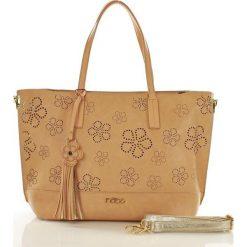Shopper bag damskie: Miejski shopper z ażurem w kwiaty beżowa ELIZA
