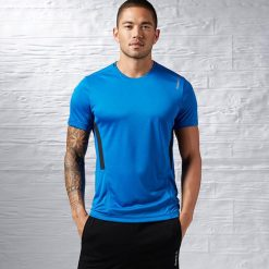 Topy sportowe damskie: Reebok Koszulka męska Work Out Ready Tech Top niebieska r. L (AJ2891)