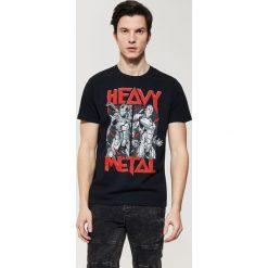 T-shirty męskie z nadrukiem: T-shirt z nadrukiem heavy metal – Czarny