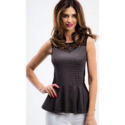 Bluzki asymetryczne: Czarna koronkowa bluzka z baskinką BB2515