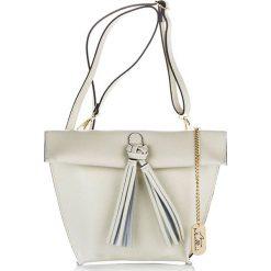 Torebki klasyczne damskie: Skórzana torebka w kolorze kremowym – 32 x 25 x 12 cm
