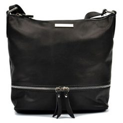 Torebki klasyczne damskie: Skórzana torebka w kolorze czarnym – (S)24 x (W)32 x (G)11,5 cm